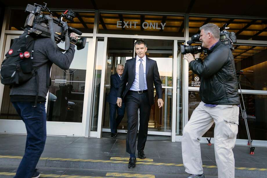 Former Uber CEO Travis Kalanick leaves the Philip Burton Federal Building after testifying on day two of the trial between Waymo and Uber Technologies in February. Photo: Elijah Nouvelage / Getty Images