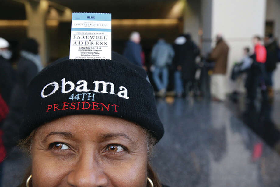 Chris Sweda | Chicago Tribune (AP) Sheryl Harvey is shown with her ticket to President Barack Obama's final scheduled speech. Thousands of people have lined up in frigid temperatures hoping for tickets. Obama plans to speak to supporters Tuesday, carrying on a tradition set in 1796 when George Washington addressed the American people for the last time as president.