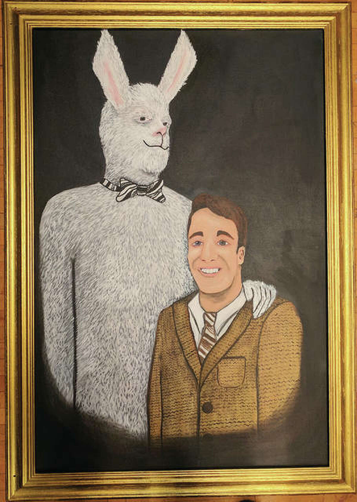 A portrait of Elwood P. Dowd and Harvey painted by Marquette Catholic High School's own Molly Velikis of the art department.