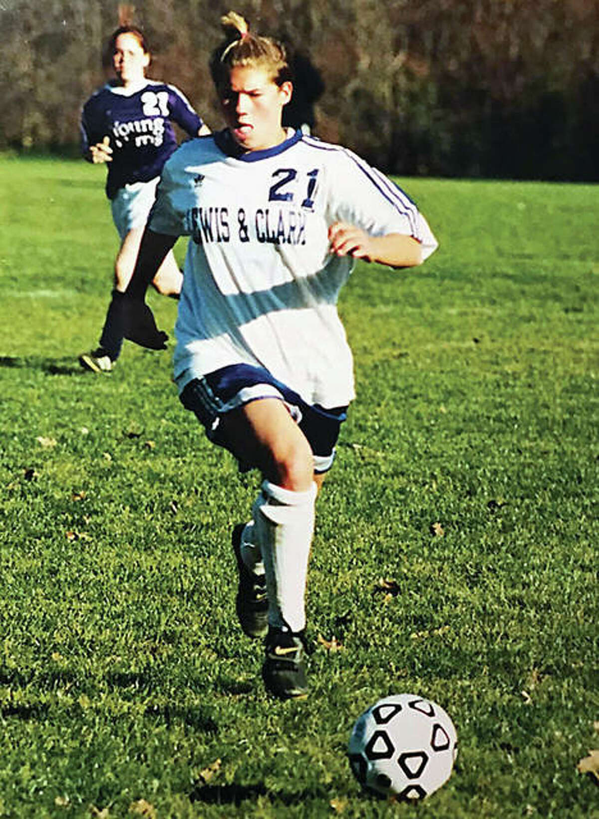 Angie Bode of Lewis and Clark controls the ball during the 1999 national championship season. Bode, now Bode-Parsons, was elected to the NJCAA Women's Soccer Hall of Fame earlier this week,