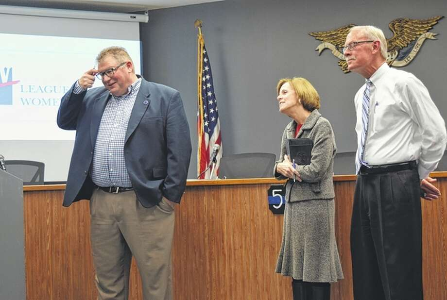 Jacksonville Mayor Andy Ezard, Morgan County Board of Commission Chairwoman Ginny Fanning, and South Jacksonville Interim Mayor Steve Waltrip prepare to answer questions about the state of their municipalities Wednesday at a forum by the Morgan County League of Women Voters. Photo: Samantha McDaniel-Ogletree | Journal-Courier