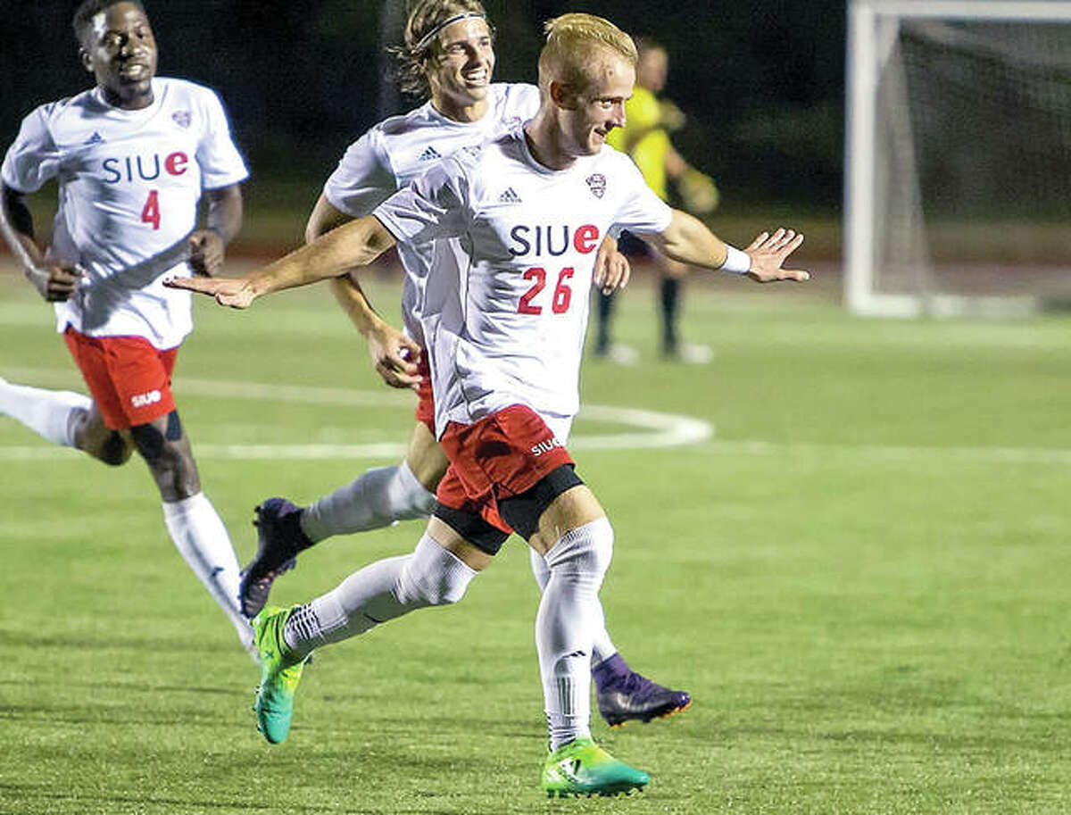 SIUE's Greg Solawa (26) celebrates a goal earlier this season at Korte Stadium. He and his teammates will face Akron at 10 a.m. Friday in a semifinal of the Mid-American Conference Tournament in Kalamazoo, Michigan.
