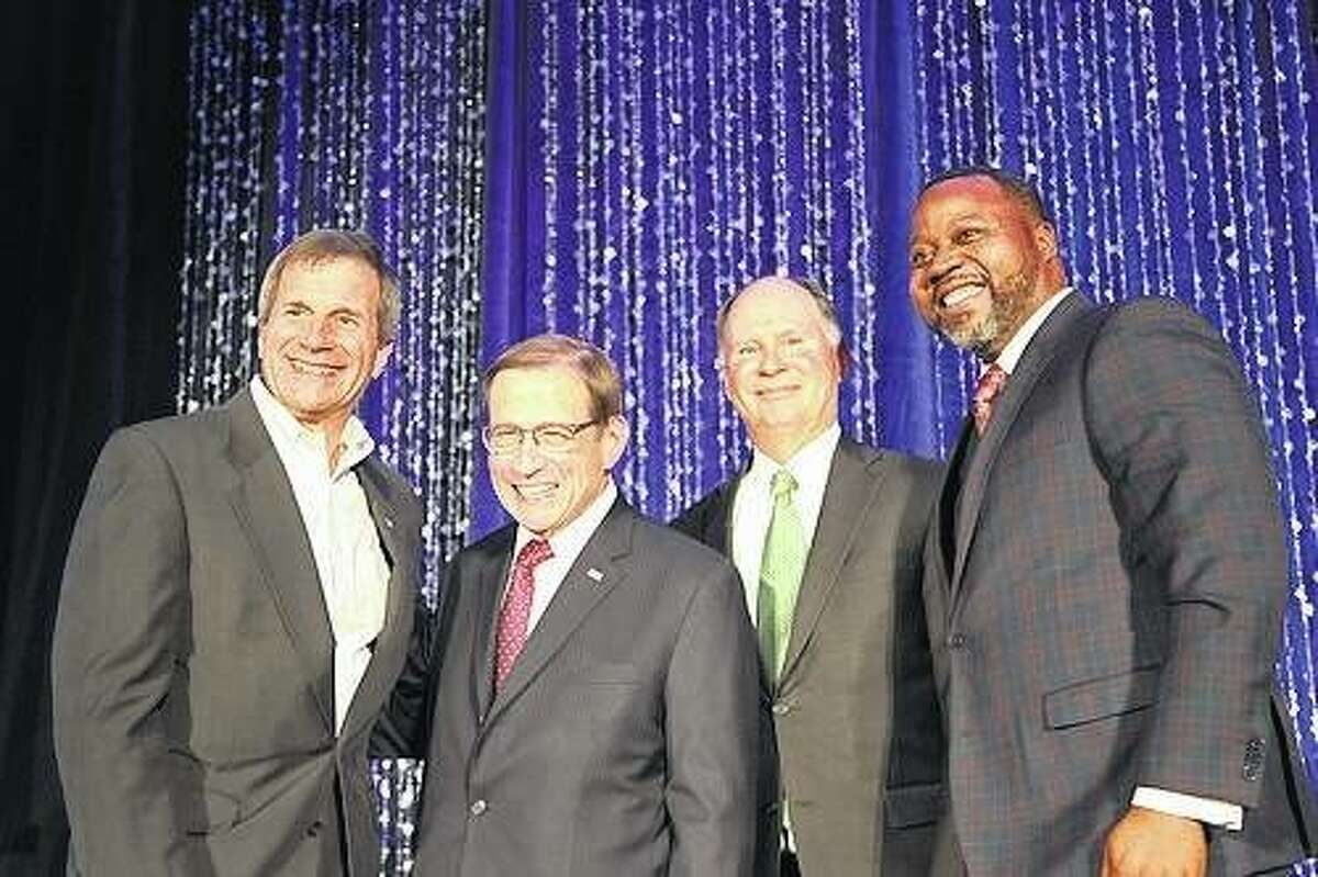 Pictured are, from left, Mike DeCola, CEO of HBM Holdings and board chair for United Way of Greater St. Louis Board of Directors; 2017 United Way of Greater St. Louis campaign co-chairs Michael Neidorff, chairman, president and CEO of Centene Corp., and Mark Burkhart, managing principal of Burkhill Real Estate; and Orvin Kimbrough, president and CEO of United Way of Greater St. Louis.