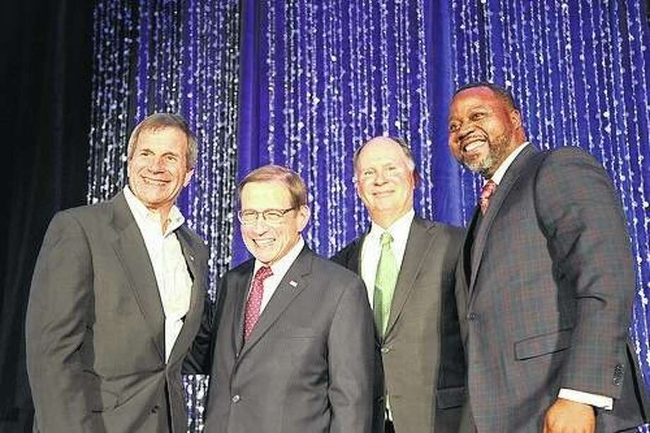 Pictured are, from left, Mike DeCola, CEO of HBM Holdings and board chair for United Way of Greater St. Louis Board of Directors; 2017 United Way of Greater St. Louis campaign co-chairs Michael Neidorff, chairman, president and CEO of Centene Corp., and Mark Burkhart, managing principal of Burkhill Real Estate; and Orvin Kimbrough, president and CEO of United Way of Greater St. Louis. Photo: For The Telegraph
