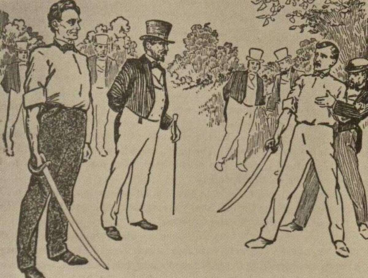 """In 1842, James Shields, state auditor, took offense at a political letter penned by Abraham Lincoln, and challenged the future president to a duel. Dueling was against the law in Illinois, so the party was forced to meet on an island in the Mississippi River, just opposite Alton. Lincoln took the whole matter lightly, even choosing broadswords as the weapon. A broadsword in Lincoln's hand obviously gave him an unfair advantage over the average-height Shields. Lincoln's light attitude failed to deter Shields in his pursuit of justice. But, thanks to the efforts of the seconds of both men, and a Dr. R.W. English, a mutual friend, the issue was settled before the duel was fought. In later years, Dr. English lived in Alton, and relished telling the story. On the party's return trip to Alton, one man covered a large log with a white sheet out on the boat deck. He commenced to fan the """"body"""" in full sight of the crowd waiting on the levee anxious to learn who won the """"duel."""""""