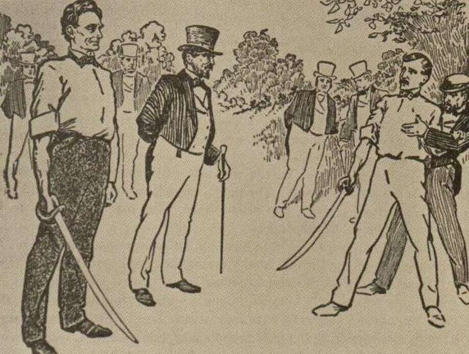 "In 1842, James Shields, state auditor, took offense at a political letter penned by Abraham Lincoln, and challenged the future president to a duel. Dueling was against the law in Illinois, so the party was forced to meet on an island in the Mississippi River, just opposite Alton. Lincoln took the whole matter lightly, even choosing broadswords as the weapon. A broadsword in Lincoln's hand obviously gave him an unfair advantage over the average-height Shields. Lincoln's light attitude failed to deter Shields in his pursuit of justice. But, thanks to the efforts of the seconds of both men, and a Dr. R.W. English, a mutual friend, the issue was settled before the duel was fought. In later years, Dr. English lived in Alton, and relished telling the story. On the party's return trip to Alton, one man covered a large log with a white sheet out on the boat deck. He commenced to fan the ""body"" in full sight of the crowd waiting on the levee anxious to learn who won the ""duel."" Photo: File Photo"