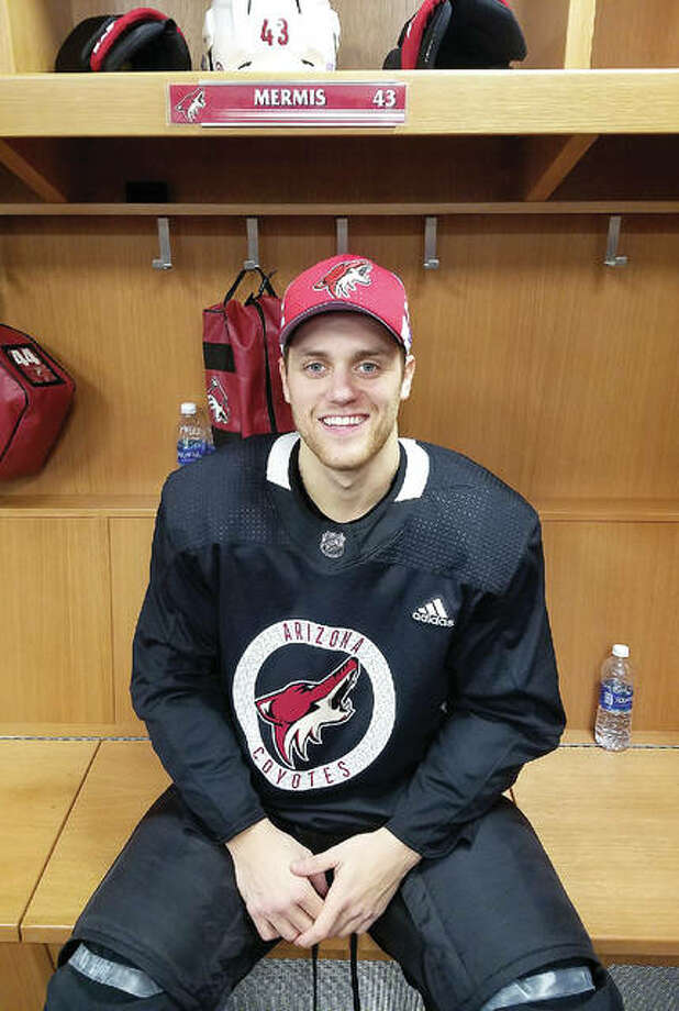 Former Alton High standout and Telegraph Player of the Year Dakota Mermis of the Arizona Coyotes played against the favorite team of his childhood Thursday when Arizona faced the Blues at Scottrade Center. Mermis was called up by the Coyotes last week. He pictured in front of his locker in the Arizona locker room prior to Thursday's game. Photo: For The Telegraph