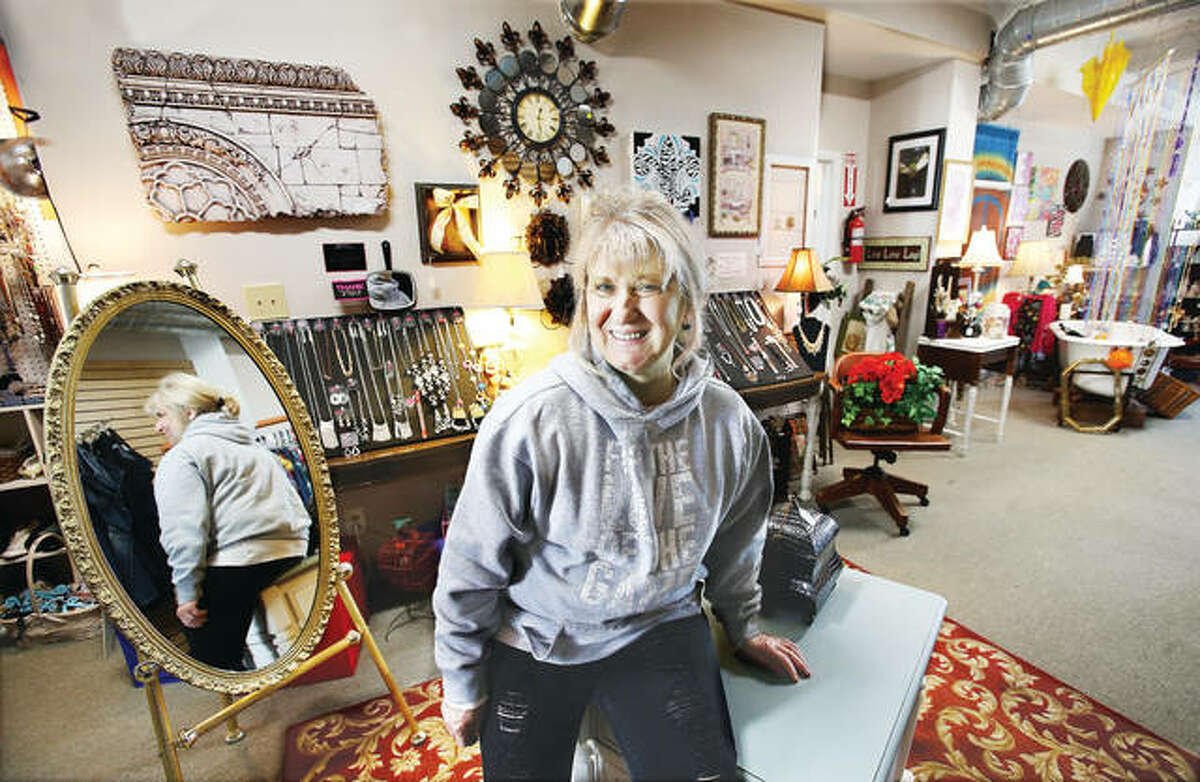 Been There, 13 E. Broadway, Alton, carries its specialties, which are refurbished furniture and wall hangings, as well as antiques, Paparazzi lead-free jewelry sets and much more. Owner Patricia Edrington, pictured, of Columbia, Illinois, moved her shop from Waterloo, Illinois, to Alton, Illinois, two months ago.