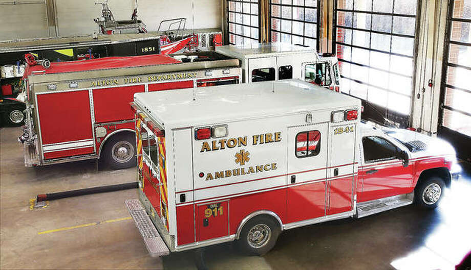 In this photo from early January, the Alton Fire Department's frontline ambulance sits in a bay at the Don Twichell Memorial Fire Station. The department is now set to purchase its third ambulance, with hopes of having it in service by the end of the year. Photo: John Badman | The Telegraph