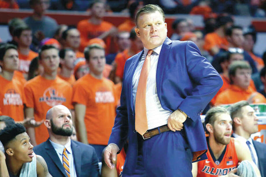 Illinois coach Brad Underwood watches from the bench during the second half of Friday night's game against Southern University in Champaign. Photo: AP