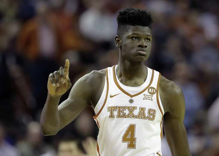 Texas forward Mohamed Bamba (4) during the second half of an NCAA college basketball game against Kansas State, Wednesday, Feb. 7, 2018, in Austin, Texas. Kansas won 67-64.(AP Photo/Eric Gay)