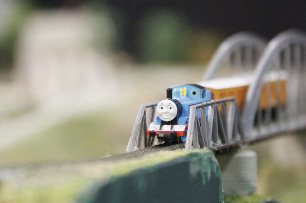 Thomas the Tank Engine chugged along an N-scale model railroad layout at last year's Great Train Show.