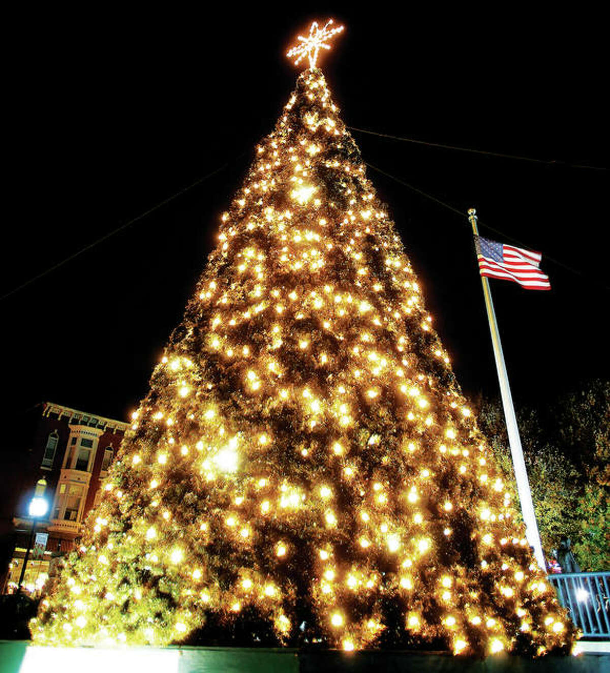 The Alton Christmas tree after being lit for the season at last year's ceremony.