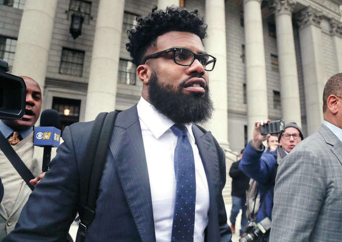 Dallas Cowboys NFL football star Ezekiel Elliott walks out of federal court in New York last week. Elliott, a native of Alton, has dropped his appeal with five games remaining on his six-game suspension over alleged domestic violence. The 22-year-old Elliott was suspended in August after the league concluded following a year-long investigation that he had several physical confrontations in the summer of 2016 with Tiffany Thompson, his girlfriend at the time.