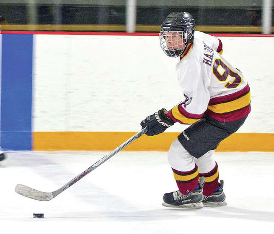 East Alton-Wood River's Kaleb Harrop scored all seven of his team's goals - four of them unassisted, in the Oilers' 7-3 Mississippi Valley Club Hockey Association victory over Alton late Wednesday night at the East Alton Ice Arena. Photo: JDP Photographs
