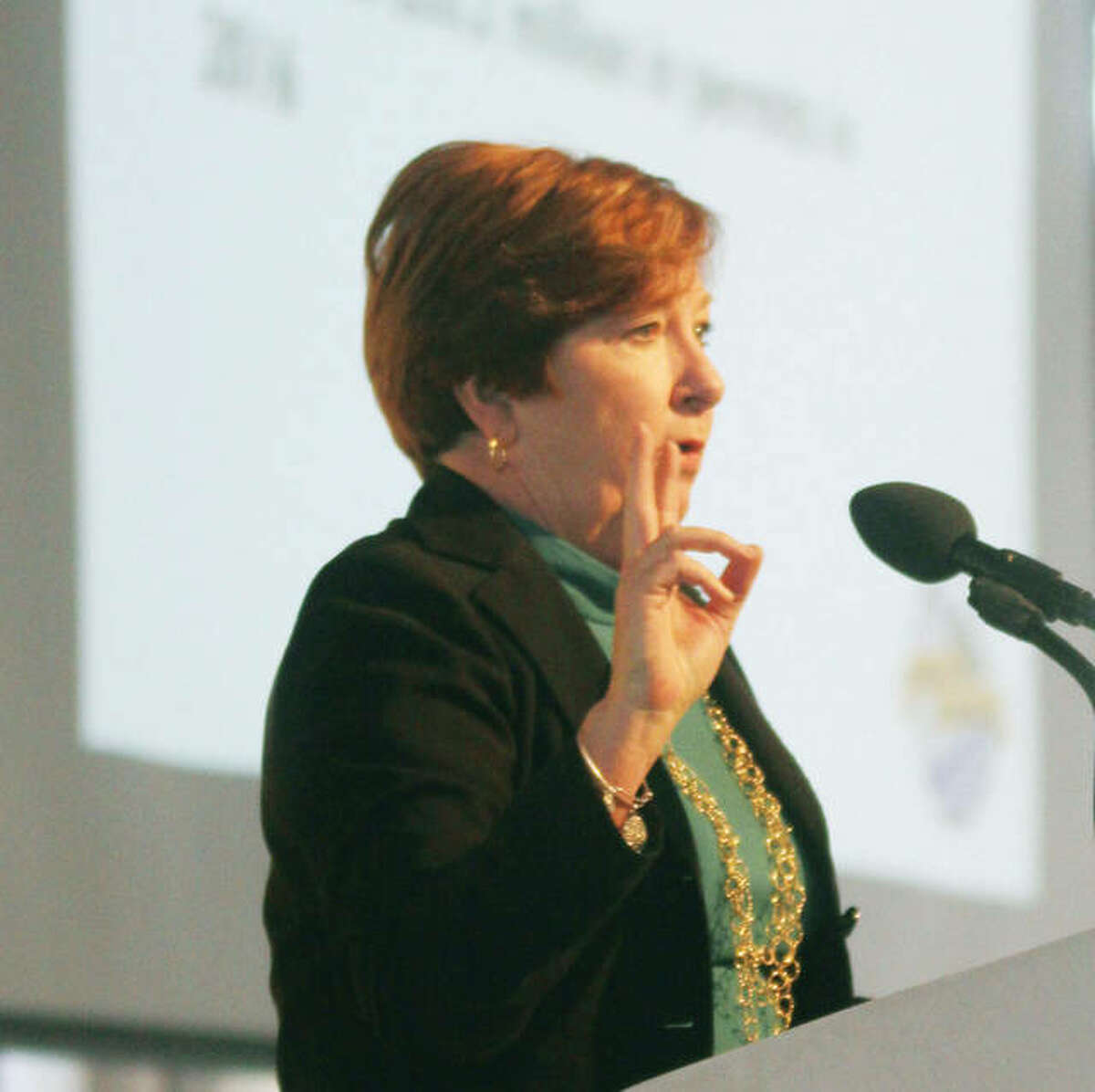 Monica Bristow, president of the RiverBend Growth Association, speaks during the 2017 State of the RiverBend luncheon last month. Bristow announced Thursday she is retiring as RBGA president to run for state office.