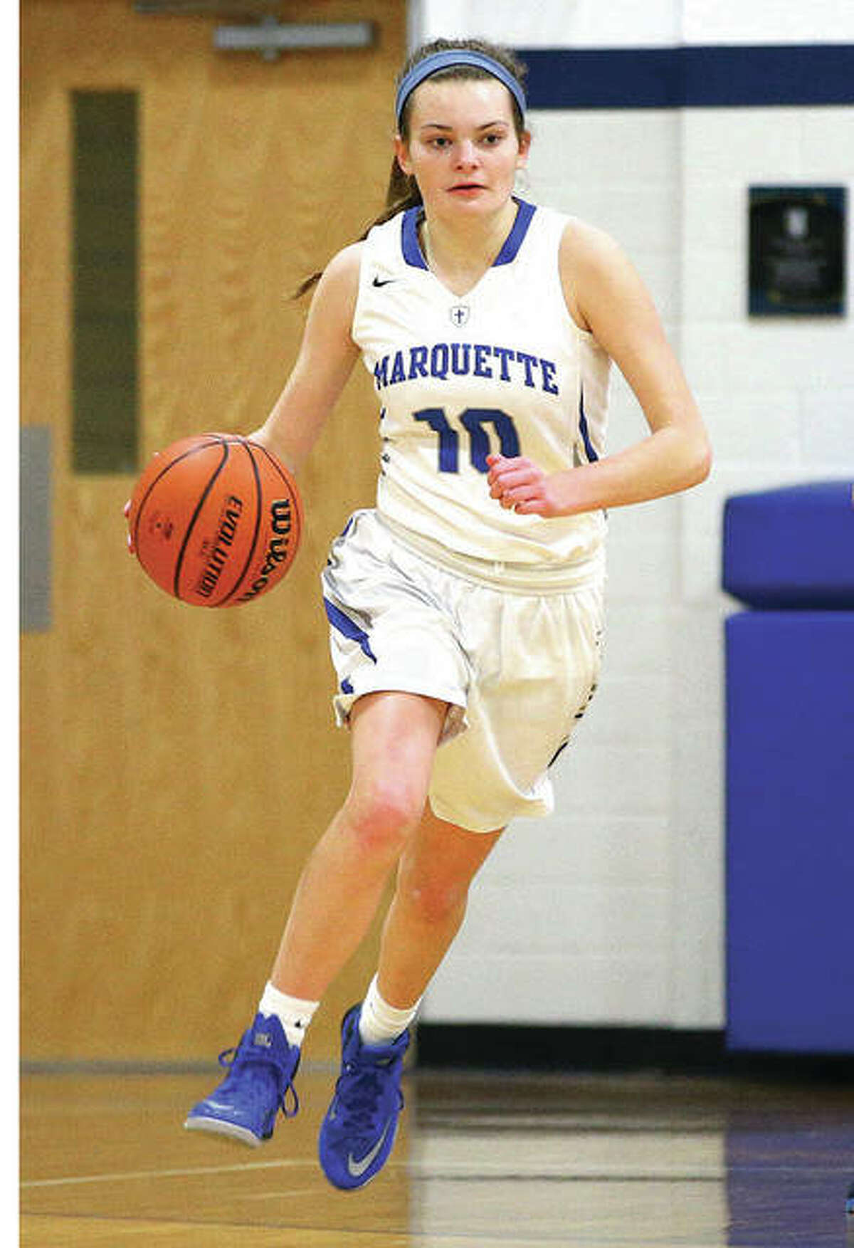 Marquette's Lila Snider scored 18 points Wednesday night in her team's victory over Metro East Lutheran in a consolation semifinal game at the Columbia Tip-Off Classic.