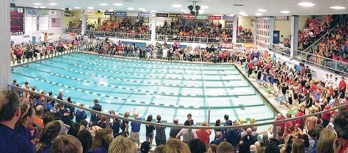 The natatorium at New Trier High School in Winnetka, seen here during a previous state swim meet, will be packed to the rafters Friday and Saturday for the 2017 IHSA Girls State Swim and Dive Meet.