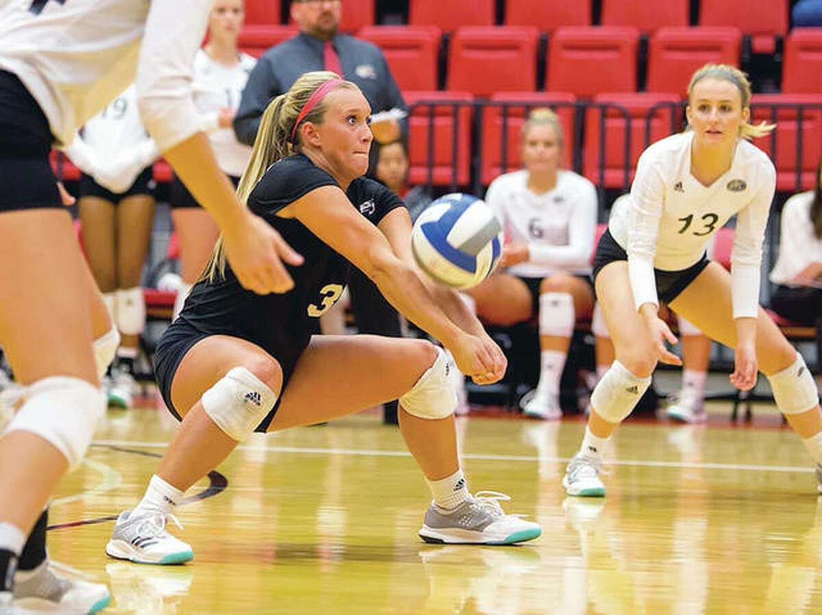 SIUE senior Katie Shashack had 22 digs in Thursday's OVC Tournament loss to Eastern Illinois in Clarksville, Tenn. Shashack is pictured in action earlier this season against Belmont.