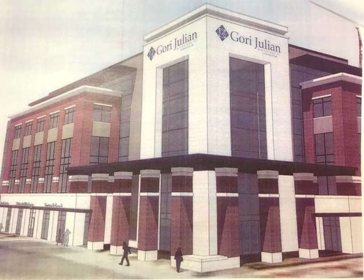 A rendering of the proposed five-story, 60,000-square-foot office building of Gori Julian that will take the place of the old public safety building.