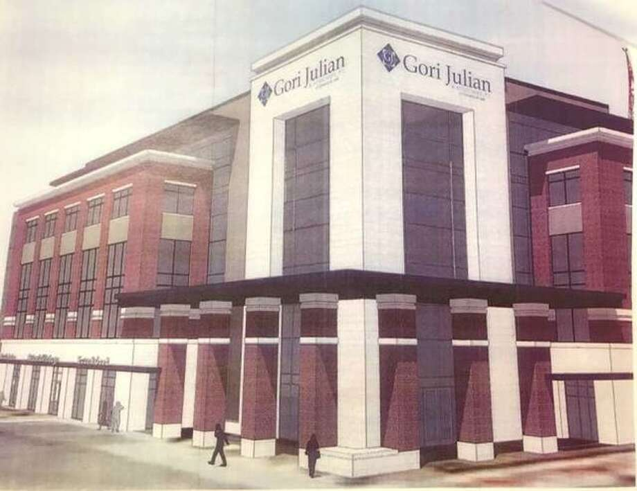 A rendering of the proposed five-story, 60,000-square-foot office building of Gori Julian that will take the place of the old public safety building. Photo: For The Telegraph