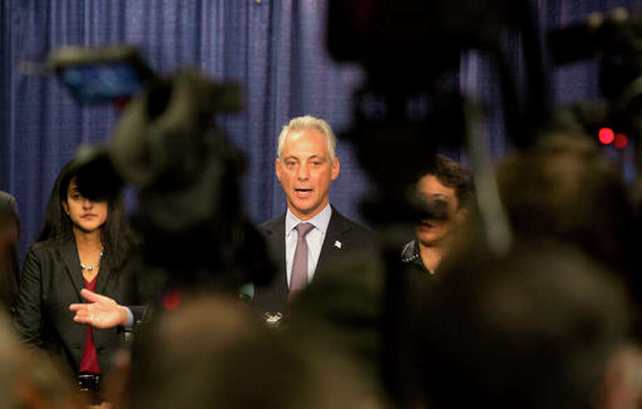 "Teresa Crawford | AP Chicago Mayor Rahm Emanuel answers questions during a news conference in Chicago after the the U.S. Justice Department issued a report on civil rights abuses by the Chicago Police Department. In a tweet Tuesday night, President Donald Trump said he's ready to ""send in the Feds"" if Chicago can't reduce its homicide figures."