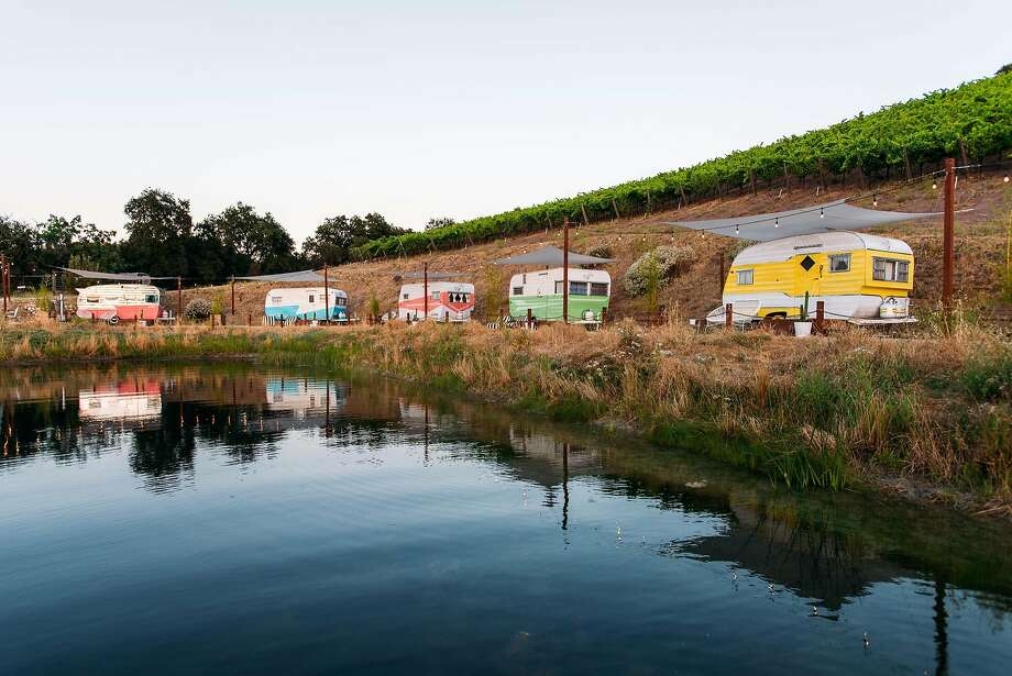 The vintage trailers at the Trailer Pond at Alta Colina winery in Paso Robles. Photo: Kelsea Holder Photography