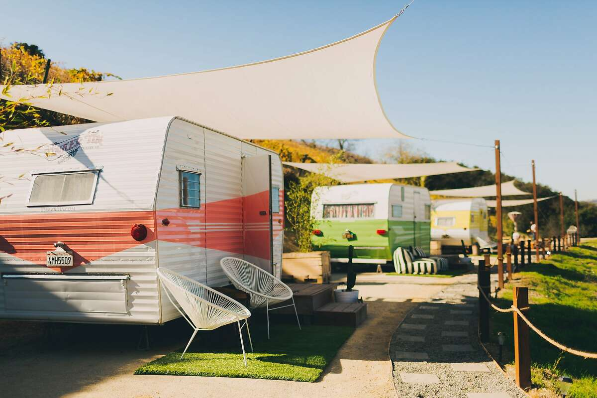 The vintage trailers at the Trailer Pond at Alta Colina winery in Paso Robles.