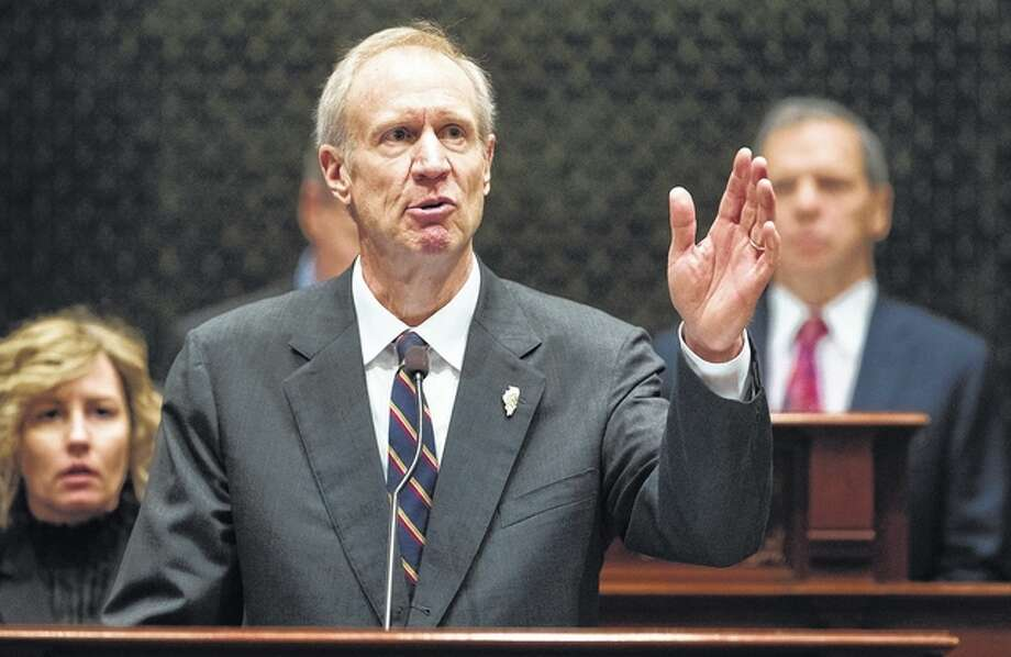 Ted Schurter | State Journal-Register (AP) Gov. Bruce Rauner delivers his State of the State address in the House chamber in Springfield this week. With crises mounting around him and potential Democratic rivals circling, Rauner's strategy for keeping his job in 2018 appears to involve stressing the bright spots and blaming others for the things going horribly wrong.