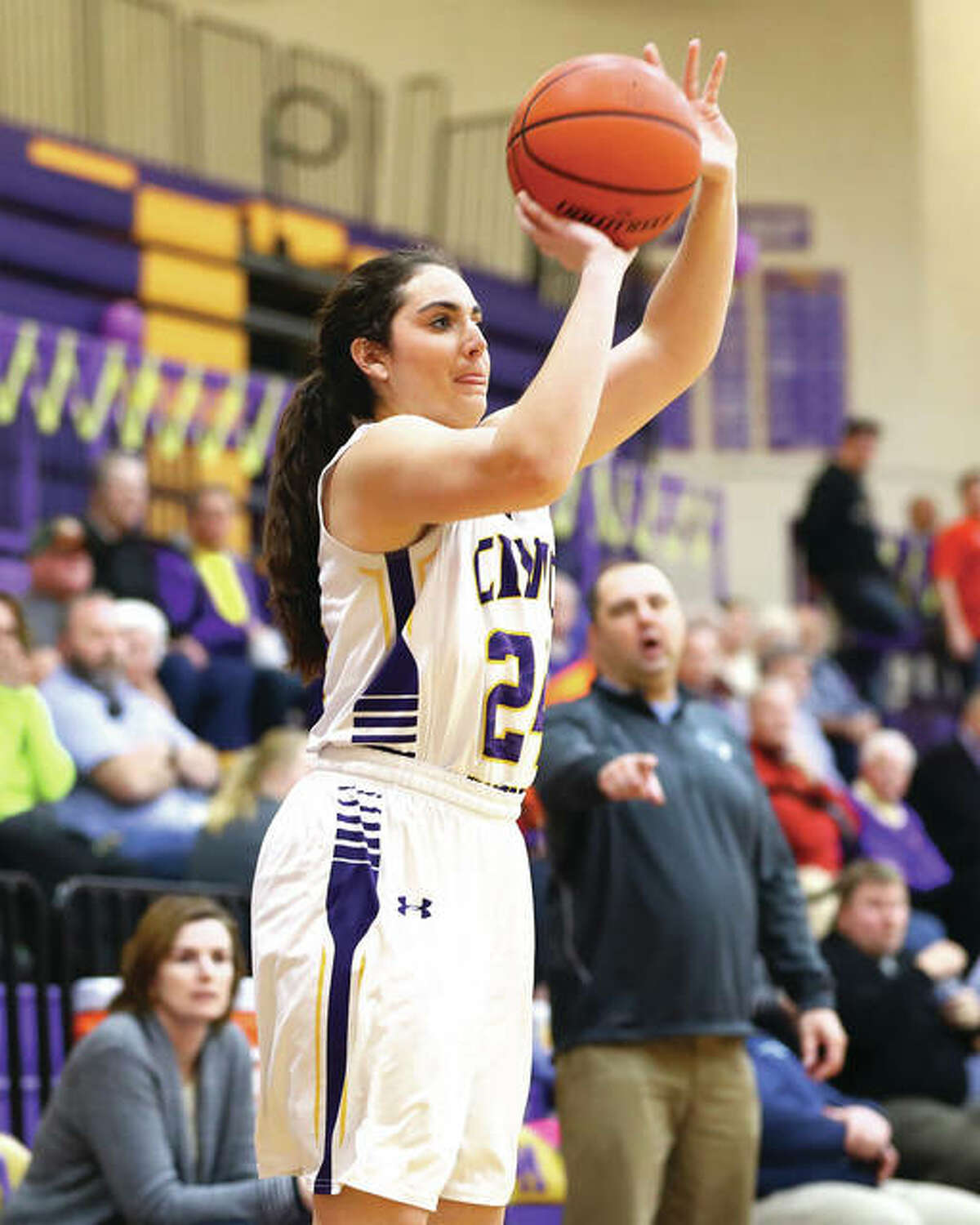 Civic Memorial's Kaylee Eaton, shown shooting a 3 against Jersey in a game last season in Bethalto, helped the Eagles to a 3-0 start with a pair of wins Saturday at the Taylorville Tournament.
