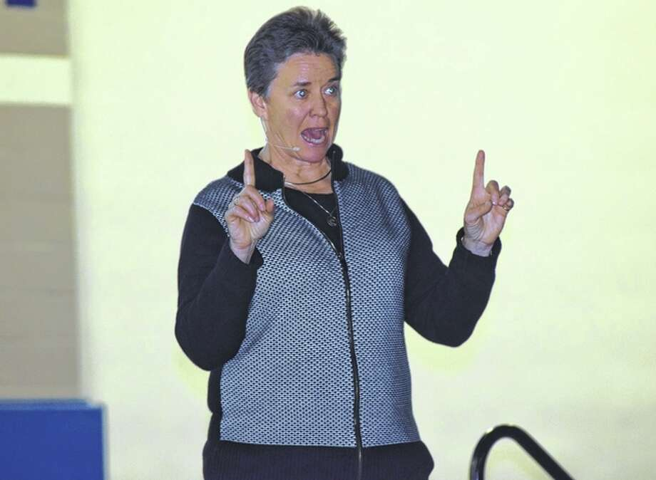 Coach Sherry Winn, a two-time Olympian, national championship coach and author, speaks Sunday to high school students attending a conference at Illinois College about steps to becoming a great leader and improving themselves. Photo: Samantha McDaniel-Ogletree | Journal-Courier