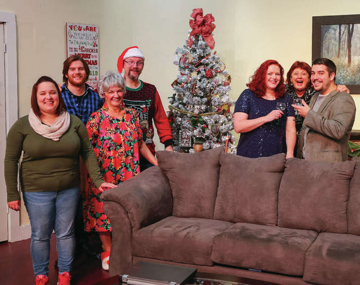 """Pictured on left is Kayla Robinson, Nick Trapp, Pat Kulish and Brant McCance, and on right, Mary Crank, Lee Cox and Andrew Richards, all of whom play an integral role in the family makeup in Alton Little Theater's upcoming production """"A Nice Family Christmas."""""""