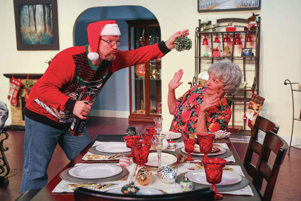 """Brant McCance and Pat Kulish in Alton Little Theater's """"A Nice Family Christmas."""""""