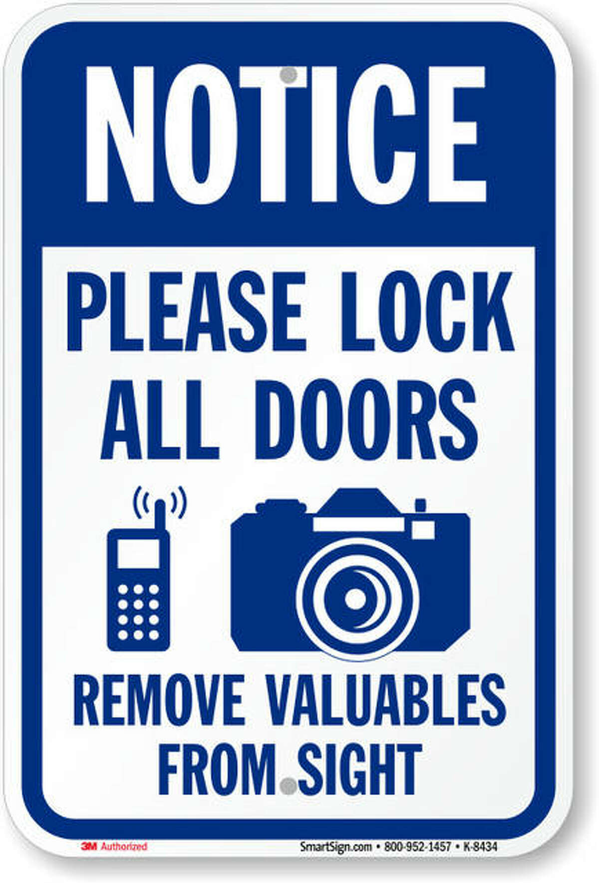 """The Bethalto Police Department recently changed its Facebook page's profile picture to this sign, reminding citizens to """"please lock all doors"""" and """"remove valuables from sight"""" after six more vehicles were broken into Tuesday evening. All the vehicles were unlocked, Bethalto Police Deputy Chief Craig Welch said."""
