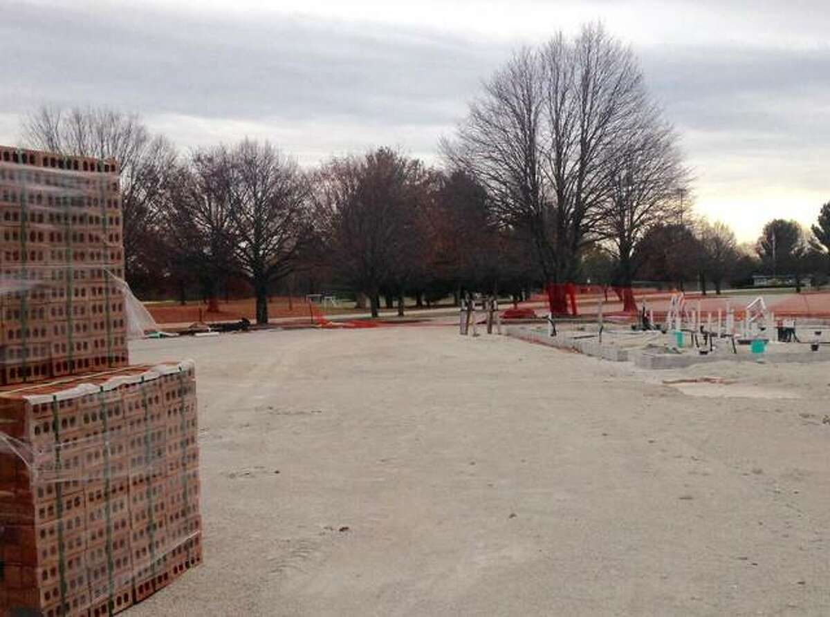 Trades union members have done site work and installed utility supply lines to the future concession stand and 1st MidAmerica Credit Union Pavilion at Gordon F. Moore Community Park, delineated by concrete blocks. The concrete slab floor is scheduled to be poured next week.