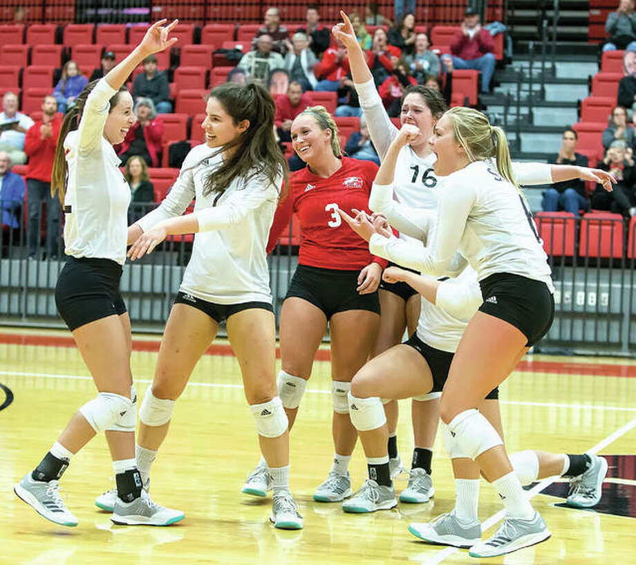 The SIUE volleyball team celebrates a win earlier this season at Vadalabene Center. The regular-season runner-up in the OVC, SIUE will get its postseason assignment Sunday night.