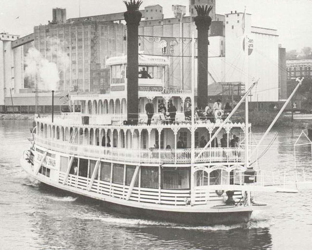Singer and composer John Hartford made a voyage down the Mississippi on the steamer Julia Belle Swain out of Peoria. Riverboats such as this one provided recreation and adventure to passengers from every corner of the world.