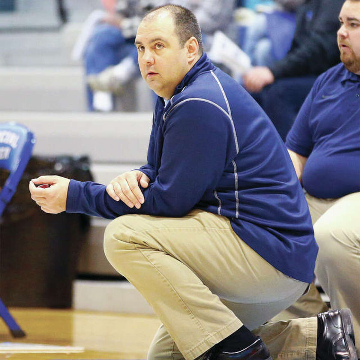 Jersey Panthers girls basketball coach Kevin Strebel feels this season's team is one that will get stronger as the season goes along.