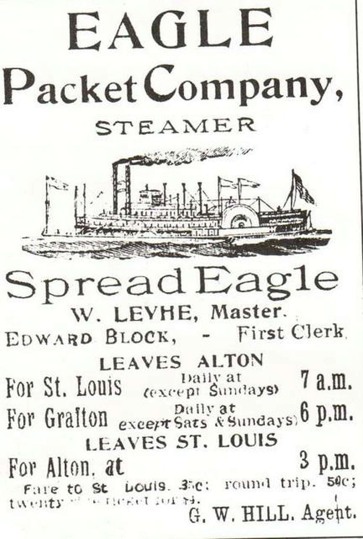"""The Eagle Packet Company originated in Quincy, but moved to Alton in 1874 in an effort to increase business. The Eagle Packet Co. was successful in competing with local lines and soon had four steamers operating on the Mississippi out of Alton. The """"Golden Eagle"""" was the final wooden hull, sternwheel steamboat to ply the Mississippi. She served as an excursion boat when the packet trade was no longer profitable. The boat sank at Grand Tower in 1947. The pilothouse was salvaged and is part of a display in the Jefferson Memorial Museum in St. Louis."""