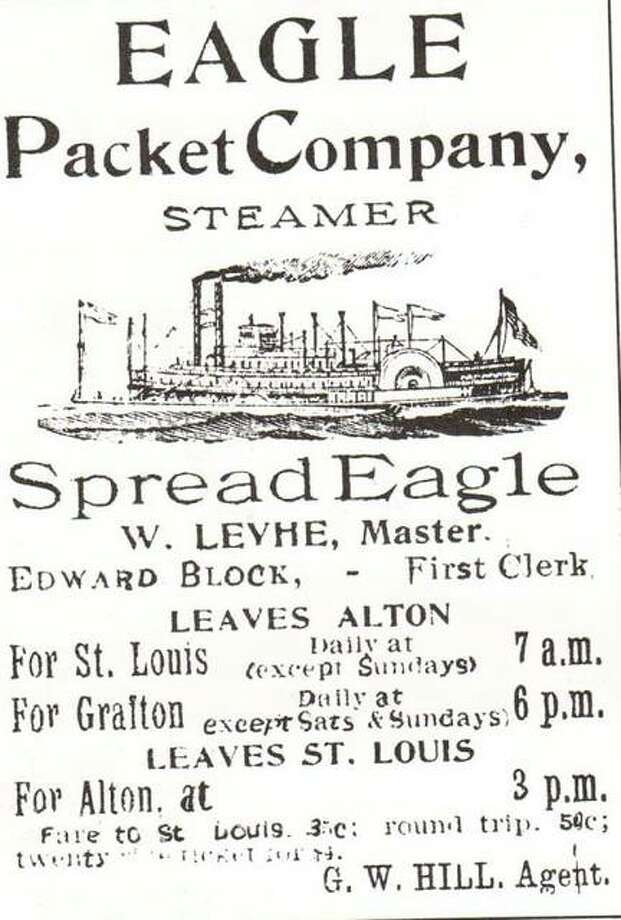 "The Eagle Packet Company originated in Quincy, but moved to Alton in 1874 in an effort to increase business. The Eagle Packet Co. was successful in competing with local lines and soon had four steamers operating on the Mississippi out of Alton. The ""Golden Eagle"" was the final wooden hull, sternwheel steamboat to ply the Mississippi. She served as an excursion boat when the packet trade was no longer profitable. The boat sank at Grand Tower in 1947. The pilothouse was salvaged and is part of a display in the Jefferson Memorial Museum in St. Louis. Photo: File Photo"