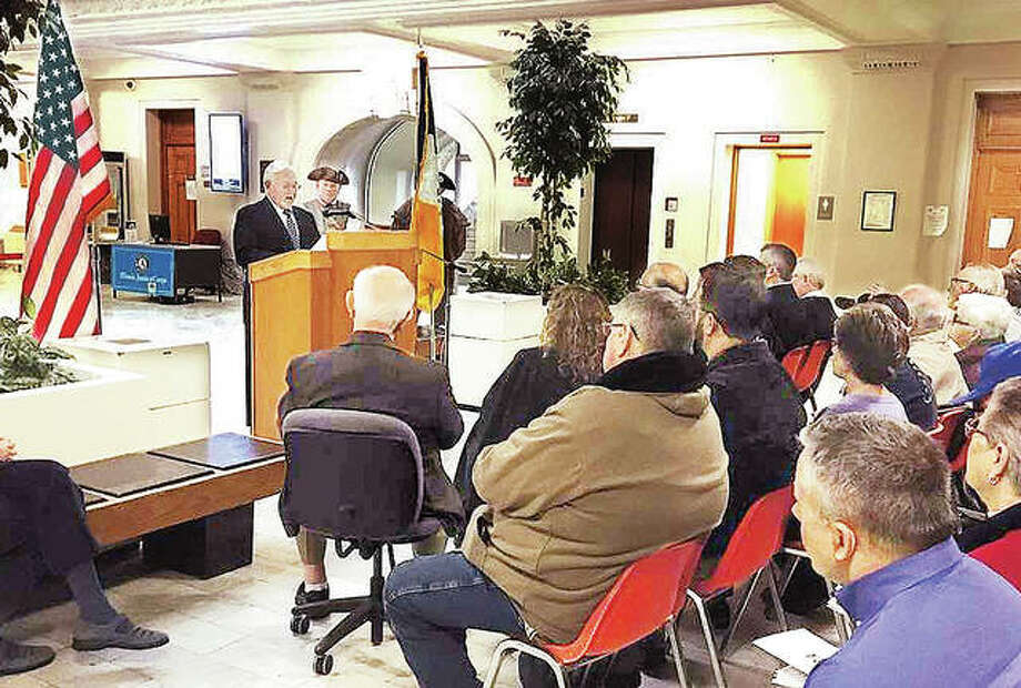 David File, General George Rogers Clark Chapter Flag Award Chairman, speaks during Thursday's ceremony at the Madison County Courthouse. This is the 21st year the Sons of the American Revolution have honored Madison County residents who consistently fly the American flag. Photo: Bill Tucker | For The Telegraph