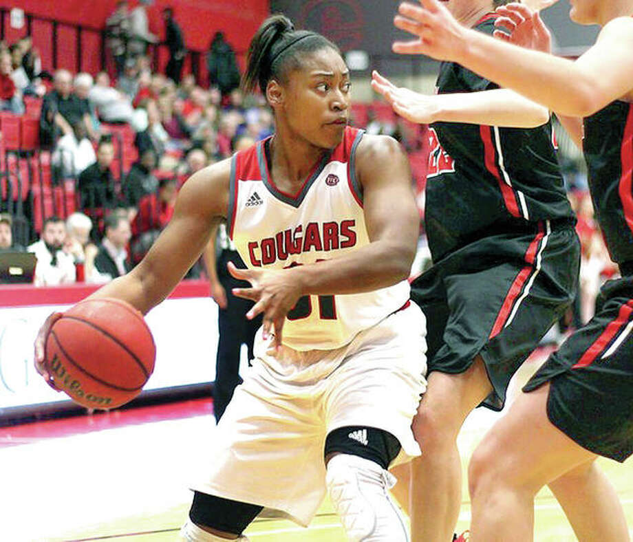 SIUE's Donshel Beck scored 11 points and had eight rebounds in the Cougars' 62-47 loss at Illinois State Thursday night in Normal. Photo: SIUE File Photo