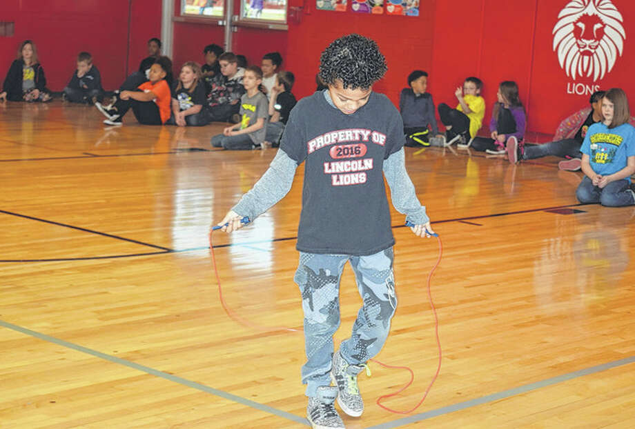 Anthony Winfert, a third grader at Lincoln Elementary School, participates in a jump rope competition Tuesday during Jump Rope for Heart. The American Heart Association event draws awareness to heart health for school students. Photo: Samantha McDaniel-Ogletree | Journal-Courier