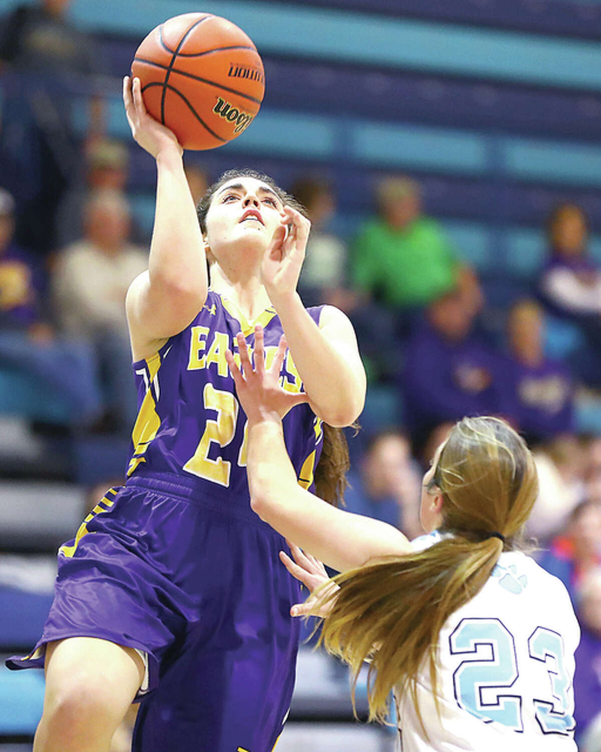 CM's Kaylee Eaton, left, led the Eagles with 17 points, three steals and five rebounds in a 76-23 win over Mascoutah Thursday night.