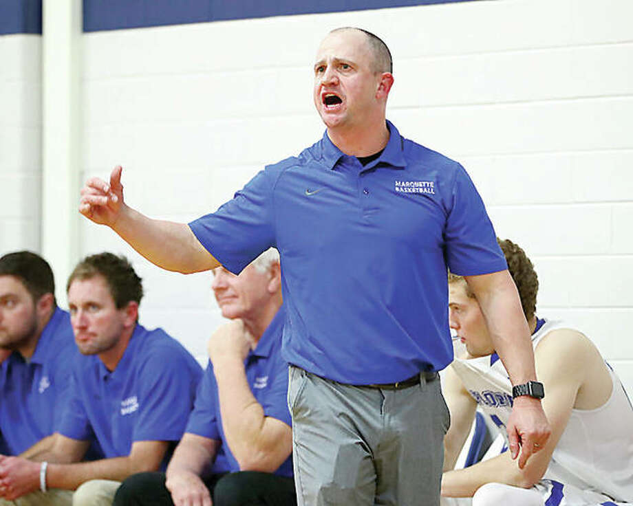 Marquette coach Steve Medford's team overcame a poor shooting night and got past Nokomis 39-36 Friday. Photo: Billy Hurst | For The Telegraph