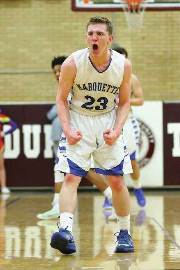 Marquette's Reagan Snider, shown reacting after hitting a 3-pointer last season, is one of the returning Explorers who have made the move up to Class 3A this season. Photo: Billy Hurst File Photo | For The Telegraph