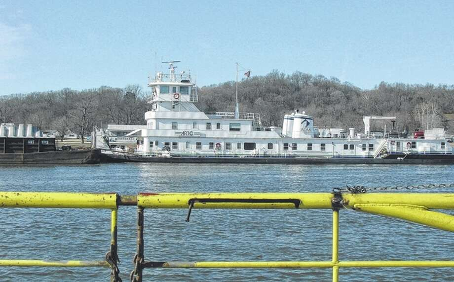The Prairie Dawn rolls along the river at the Kampsville Ferry crossing. Photo: Beverly Watkins | Reader Photo