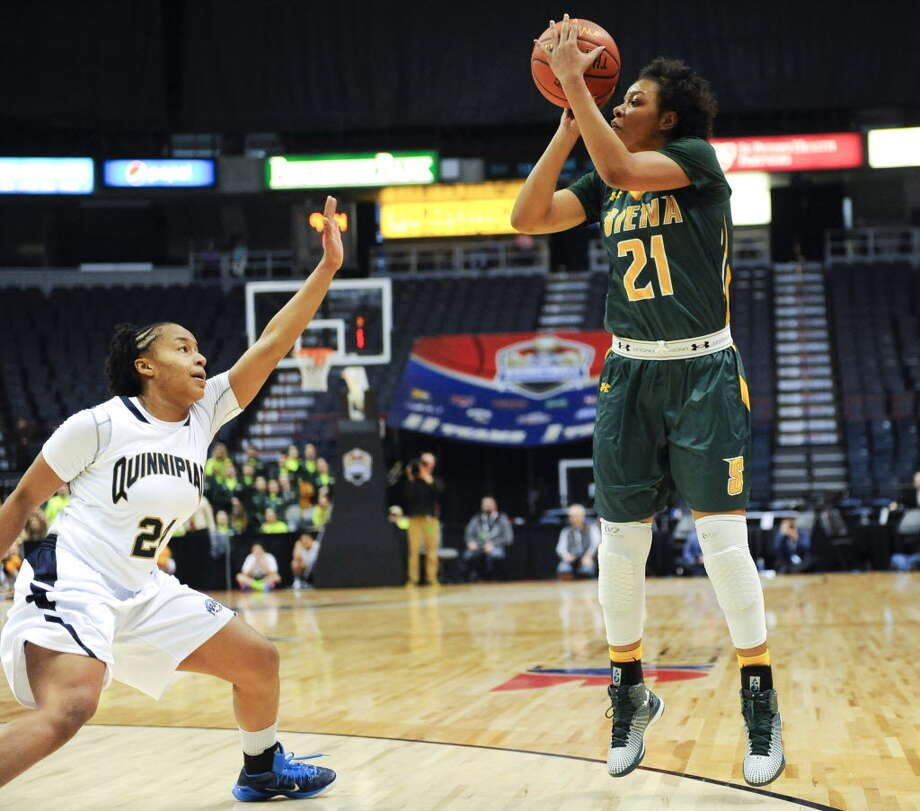 Siena's Kollyns Scarbrough took a shot in a MAAC Tournament semifinal loss to Quinnipiac in 2015, her freshman season. Scarbrough and the Saints are still looking for their first win over the Bobcats and play them on Sunday at the Alumni Recreation Center. (Hans Pennink/Special to the Times Union)