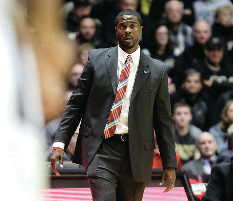 SIUE coach Jon Harris watches his team during a Nov. 10 game against Purdue in West Lafayette. The Cougars were back in Indiana Sunday to play Fort Wayne. Photo: Associated Press