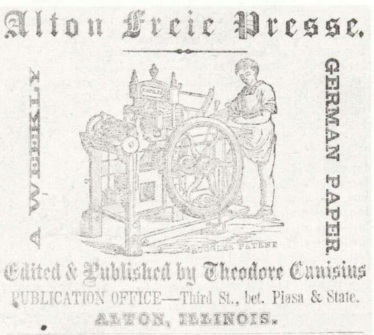 This Alton Freie Presse ad appeared in the 1858 Alton City Directory. The advertisement was for the German newspaper which was published weekly.